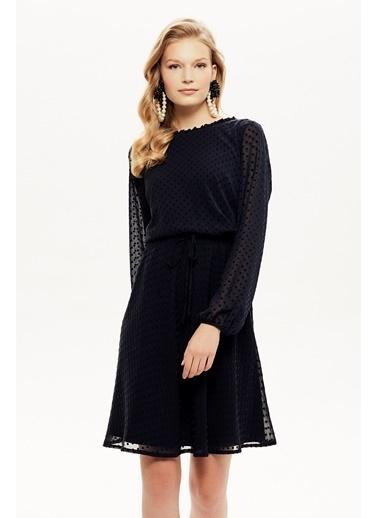 NaraMaxx Beli Lastikli Kloş Şifon Elbise Lacivert